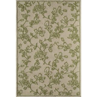 Rugs America Lenai Green Scrolls Rectangular Indoor and Outdoor Hand Hooked Area Rug (Common: 8 x 10; Actual: 90 in W x 114 in L)