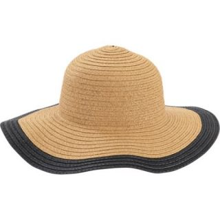 Women's Straw Solid Color Brim Floppy Hat