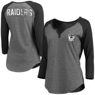 Oakland Raiders Pro Line Womens Philips Henley 3/4 Sleeve T Shirt   Gray