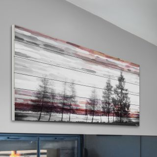 ParvezTaj Red Behind the Trees Painting Print on White Wood