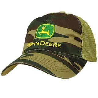 John Deere Men's One Size 6 Panel Camo Hat/Cap with Tan Mesh Back 13080003BK00
