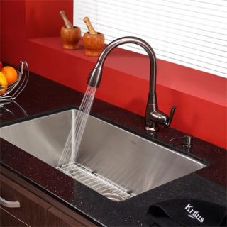 Kraus KPF 2230 KSD 30ORB Single Lever Pull Out Kitchen Faucet and Soap Dispenser in Oil Rubbed Bronze