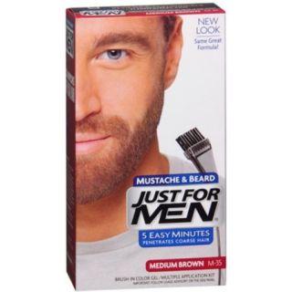 JUST FOR MEN Color Gel Mustache & Beard M 35 Medium Brown 1 Each (Pack of 4)