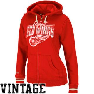 Mitchell & Ness Detroit Red Wings Womens Vintage Full Zip Hoodie   Red