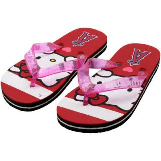Los Angeles Angels of Anaheim Youth Girls Hello Kitty Logo Stripe Flip Flops   Red
