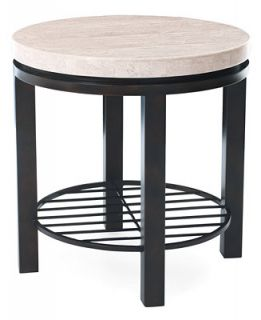 Tempo Travertine Top Round End Table   Furniture