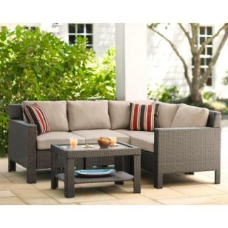 Hampton Bay Beverly 5 Piece Patio Sectional Seating Set with Beverly Beige Cushions 65 610233