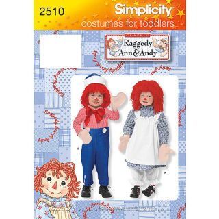 Simplicity Pattern Toddler's and Child's Raggedy Ann and Andy Costumes, (1/2, 1, 2)