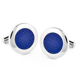 Crucible Stainless Steel Round Blue Carbon Fiber Inlay Cuff Links