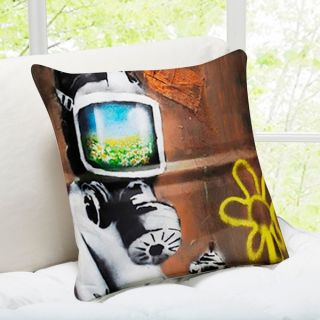Sunflower Field Gas Mask London Banksy Art Throw Pillow   17553650