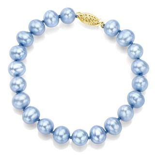 DaVonna 14k Yellow Gold Blue Cultured Pearl Bracelet (8 9mm)