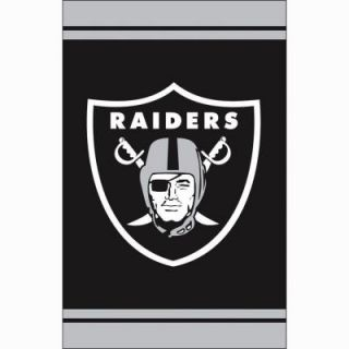 Fan Essentials 1 ft. x 1 1/2 ft. Oakland Raiders 2 Sided Fiber Optic Garden Flag with 3 2/3 ft. Metal Flagpole P127180R