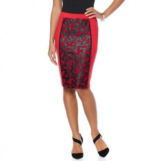 Wendy Williams Faux Leather and Mesh Pencil Skirt   7860230