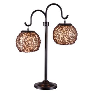Kenroy Home 32245BRZ Castillo 2 Light Outdoor Table Lamp in Bronze with Brown Shade