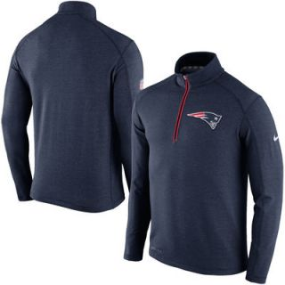 New England Patriots Nike Game Day Half Zip Knit Performance Tri Blend Jacket   Navy