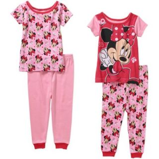 Minnie Mouse Baby Infant Girl Cotton Tight Fit Short Sleeve Pajamas, 4 Pieces