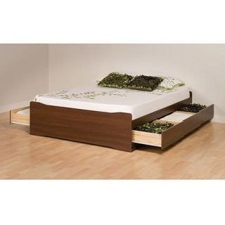 Prepac Coal Harbor Queen 6 Drawer Platform Storage Bed, Medium Brown Walnut
