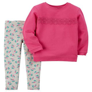 Carter's Girls 2 Piece Pink Embroidered Top and Grey Allover Floral Printed Pant Set   Toddler    Carters