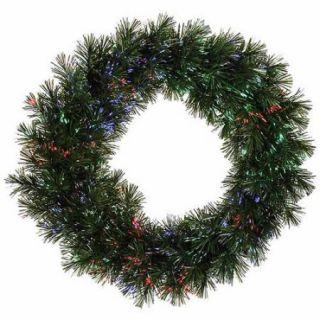 "30"" Pre Lit Battery Operated Fiber Optic Artificial Pine Christmas Wreath  Multi"