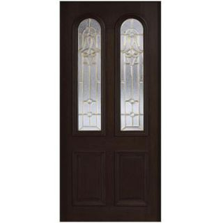 Main Door 36 in. x 80 in. Mahogany Type Twin Arch Glass Prefinished Espresso Beveled Brass Solid Stained Wood Front Door Slab SH 552 ES B