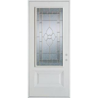 Stanley Doors 32 in. x 80 in. Traditional Zinc 3/4 Lite 1 Panel Prefinished White Steel Prehung Front Door 1103E Z 32 L Z