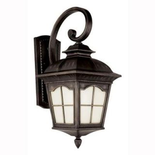 Bel Air Lighting 1 Light Antique Rust Outdoor Energy Saving Coach Lantern with Frosted Glass PL 5420 AR