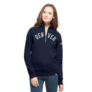 47 Denver Broncos Womens Navy Cross Check 1/4 Zip Sweatshirt