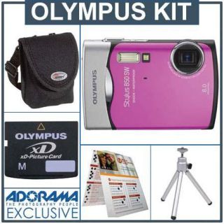 Olympus Stylus 850 SW Digital Silver Camera Kit, with 1 GB xD Picture Memory Card, Camera Bag, Table Top Tripod, EZ Digital Photography Guide Card IOMS850SWPK