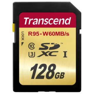 Transcend 128 GB SDXC   Class 10/UHS I   95 MB/s Read   60 MB/s Write   1 Card