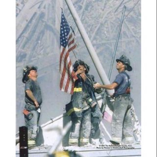 NY Firefighters Raising Flag, 911 2001 Poster Print by McMahan Photo Archive (8 x 10)