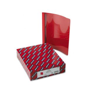 Vinyl Report Cover, Tang Clip, Letter, 1/2 Capacity, Clear/Red, 25