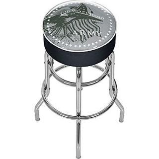 Trademark Global Vinyl Padded Swivel Bar Stool, Black, U.S. Army This Well Defend