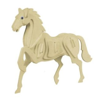 Wood Horse Model 3D DIY Assembling Puzzle Toy for Kids