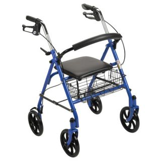 Drive Medical Four Wheel Rollator Walker with Fold Up Removable Back