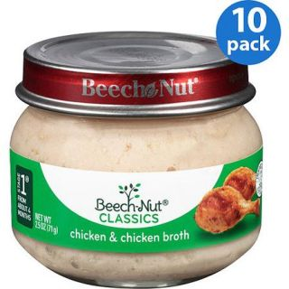 Beech Nut Classics Stage 1 Chicken & Chicken Broth Baby Food, 2.5 oz, (Pack of 10)