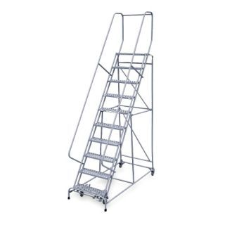 """COTTERMAN 10 Step Rolling Ladder, Rubber Mat Step Tread, 130"""" Overall Height, 450 lb. Load Capacity   6ZEU7