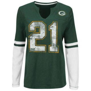 Green Bay Packers Majestic Womens Kickoff Blitz Long Sleeve T Shirt   Green