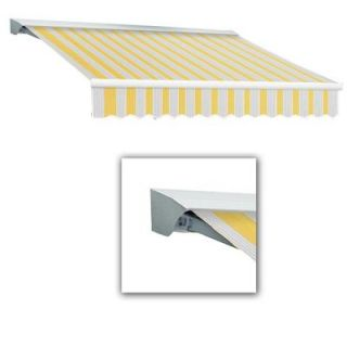 AWNTECH 8 ft. LX Destin with Hood Right Motor/Remote Retractable Awning (84 in. Projection) in Yellow/Gray/Terra DTR8 365 LYG
