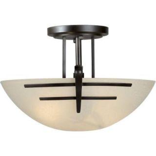 Talista 2 Light Antique Bronze Semi Flush Mount with Umber Linen Glass CLI FRT2231 02 32