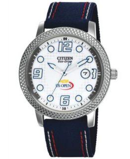 Citizen Unisex Eco Drive U.S. Open Blue Nylon Strap Watch 42mm BM7211