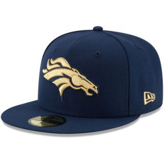 Denver Broncos New Era On The Fifty Super Bowl Gold Team Logo 59FIFTY Fitted Hat   Navy