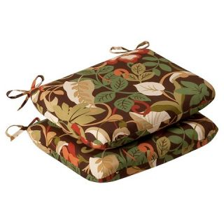Outdoor 2 Piece Chair Cushion Set   Brown/Green Floral