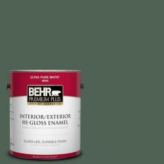 BEHR Premium Plus 1 gal. #BXC 60 Pasture Green Hi Gloss Enamel Interior/Exterior Paint 830001