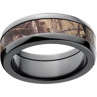 Realtree AP Men's Camo 8mm Black Zirconium Wedding Band with Polished Edges and Deluxe Comfort Fit