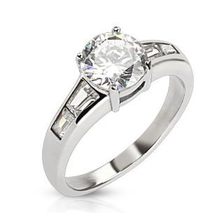Round Cut CZ Ring with Emerald cut CZ wings Stainless Steel   18439553