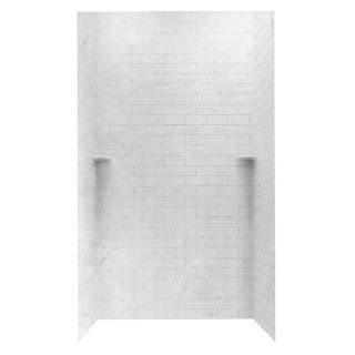Swanstone Tundra Solid Surface Shower Wall Surround Side and Back Panels (Common: 48 in x 48 in; Actual: 96 in x 48 in x 48 in)
