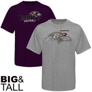 Baltimore Ravens Big & Tall Double Feature T Shirt Combo Set   Purple/Ash