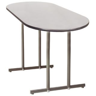 KI Furniture Portico 72 Oval Folding Table   Edge / Cap Color: Light