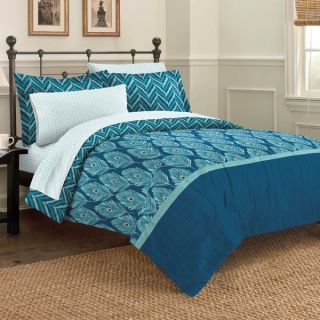 Elegant Peacock 7 piece Bed in a Bag with Sheet Set
