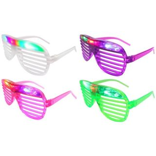 Velocity Toys Flashing LED Multi Color Slotted Shutter Glasses (Set of